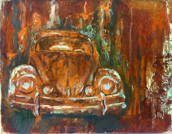VW Bug original painting in acrylics and reactive metals