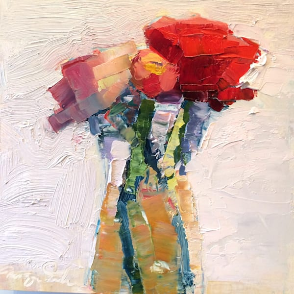 "Striking ""Still Life With Pink Orange and Red Ranunculus "" 8""x8"" oil painting by Monique Sarkessian."