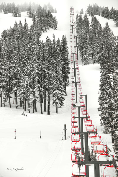 Bachelor Red Chair Ski Lift (171640LNND8) Photograph for Sale as Fine Art Print