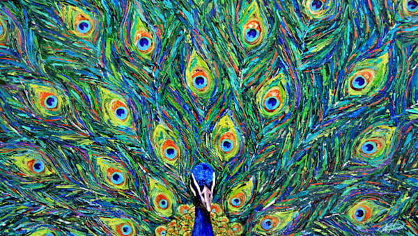 Bright and bold mixed media peacock painting by Sally Barlow