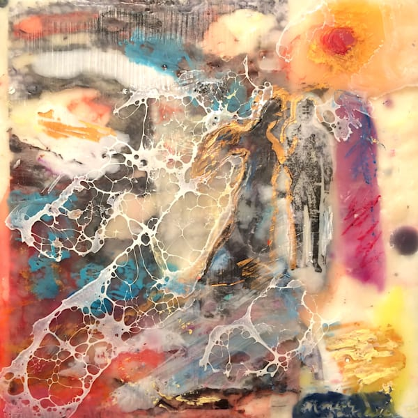 "Buy me, I'm brand new! 25 Days of Minis holiday promotion- there's a new exciting and exclusive work every day in December and once they're gone, they're gone! ""Love Conquers 5"" encaustic wax and mixed media, 6x6"" by Monique Sarkessian."