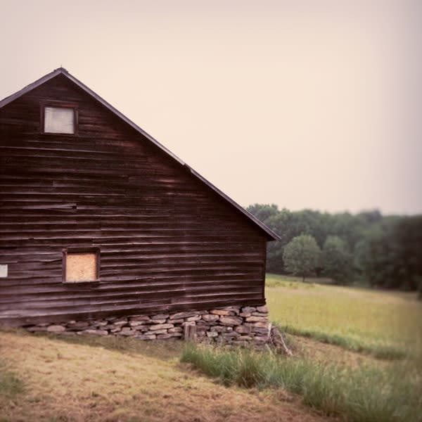 Saltbox Barn with Stone Foundation - for sale as 4x4 and 6x6-inch ceramic tiles