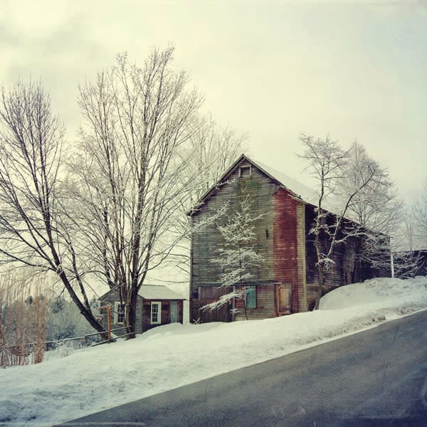 Old Barn After Fresh Snowfall - for sale as 4x4 and 6x6-inch ceramic tiles