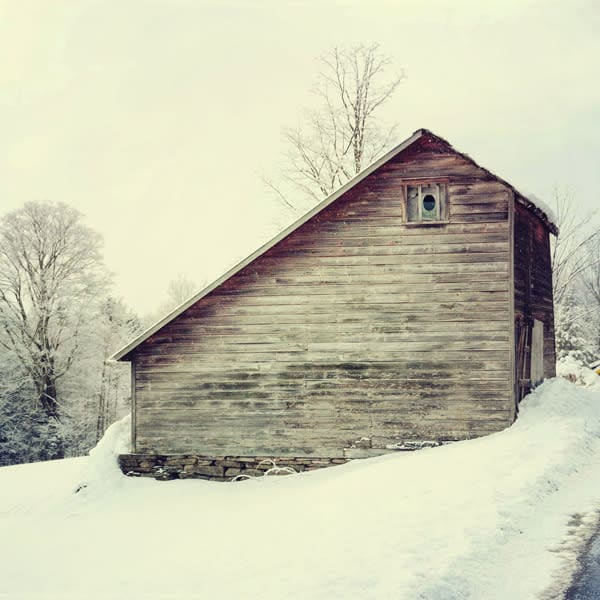 Saltbox Barn After Fresh Snowfall - for sale as 4x4 and 6x6-inch ceramic tiles