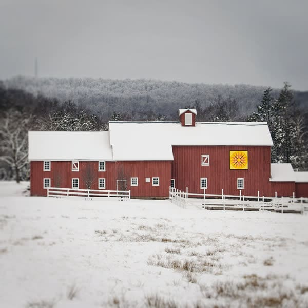 Red Barn Quilt Barn in Winter Photo Tile - for sale as 4x4 and 6x6-inch ceramic tiles