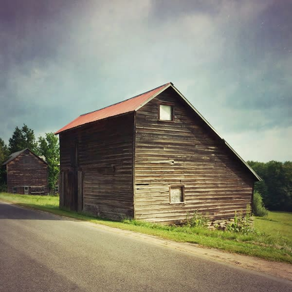 Saltbox Barn in Summer - for sale as 4x4 and 6x6-inch ceramic photo tiles