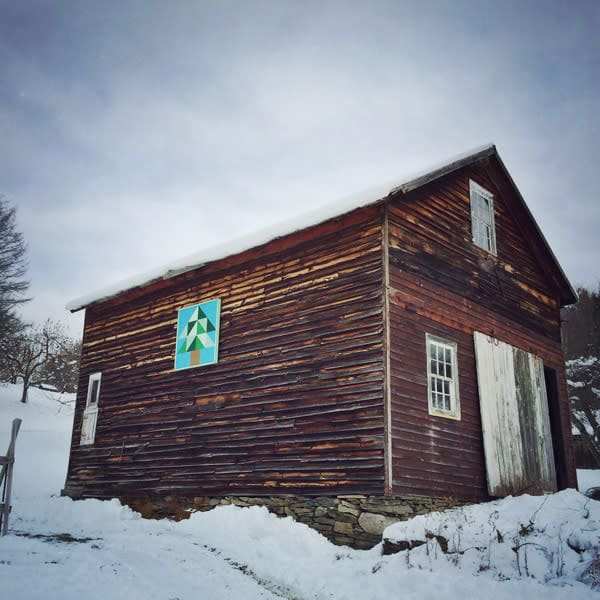 Tree Barn Quilt Winter Barn Photo Tile - for sale as 4x4 and 6x6-inch ceramic tiles