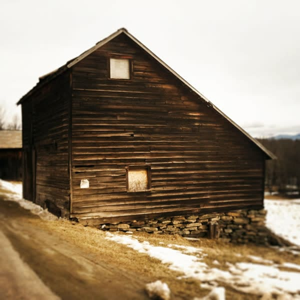 Brown Winter Saltbox Barn - for sale as 4x4 and 6x6-inch ceramic photo  tiles