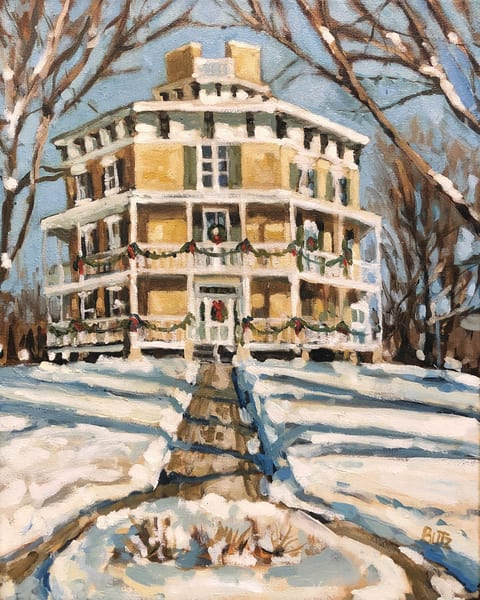 octagon house in winter