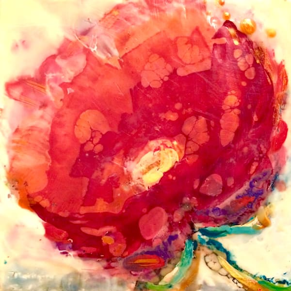"Buy me, I'm brand new! 25 Days of Minis holiday promotion- there's a new exciting and exclusive work every day in December and once they're gone, they're gone! ""Love Conquers 6"" floral flowers  encaustic wax and mixed media, 6x6"" by Monique Sarkessi"
