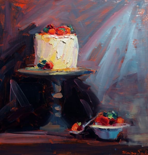 """Sweet Life""  still life with cake and Bowl of Strawberries . A bit of Van Gogh in the painting. Loads of character! Original Francophile art by Monique Sarkessian. Oil painting on wood measures 12x12x 0.75"" deep cradleboard with painted sides frame"