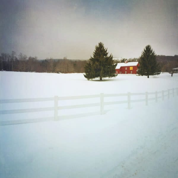 Red Barn with White Fence in Winter - for sale as 4x4 and 6x6-inch ceramic photo tiles