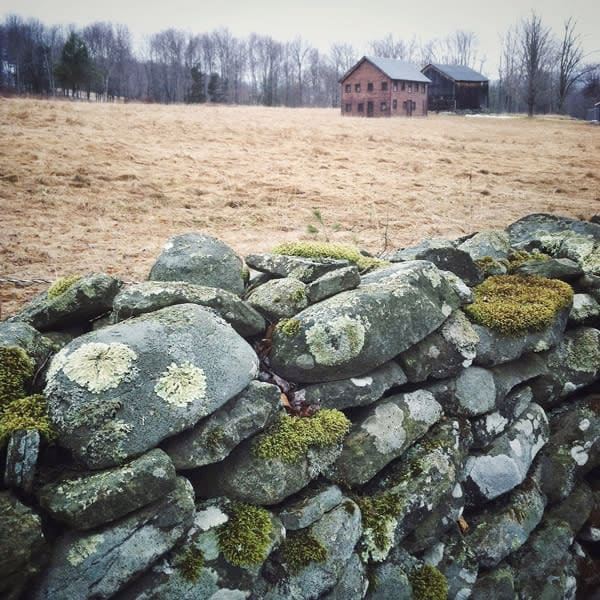 Barns Behind Stone Wall - for sale as 4x4 and 6x6-inch ceramic photo tiles