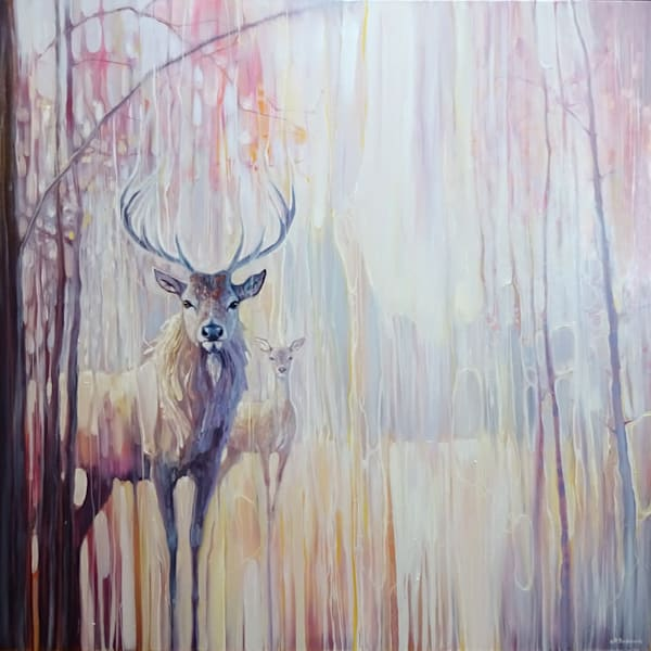 large original oil painting of red deer in  a winter forest in the snow