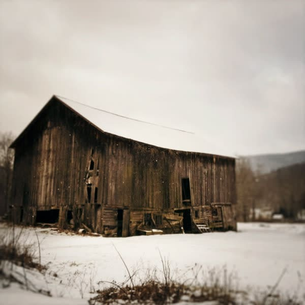Brown Winter Barn Photo Tile - for sale as 4x4 and 6x6-inch ceramic tiles