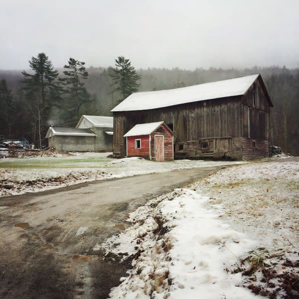 Sundown Barns in Winter - for sale as 4x4 and 6x6-inch ceramic tiles