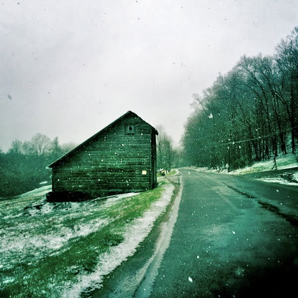 Saltbox Barn in Snowstorm  - for sale as 4x4 and 6x6-inch ceramic tiles
