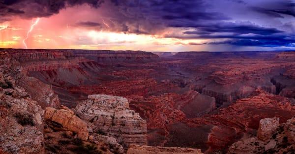 grand canyon lightning panorama