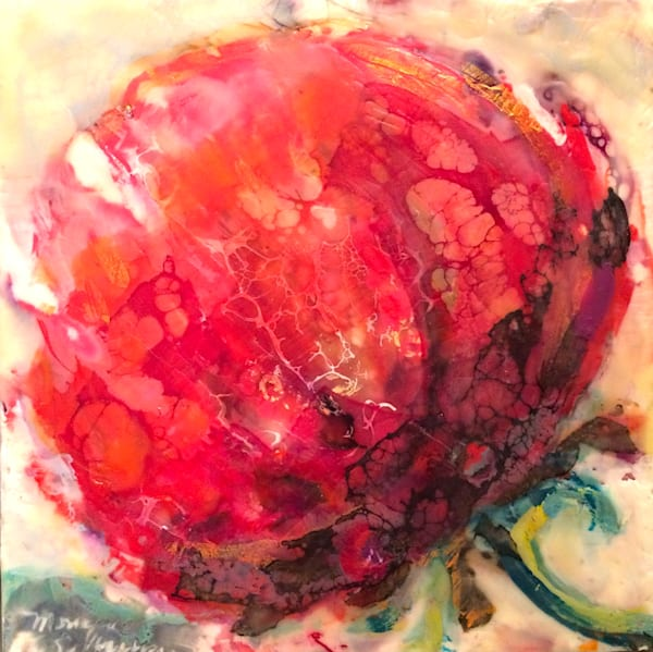 "Buy me, I'm brand new! 25 Days of Minis holiday promotion- there's a new exciting and exclusive work every day in December and once they're gone, they're gone! ""Love Conquers 7"" floral flowers  encaustic wax , 6x6"" by Monique Sarkessian."
