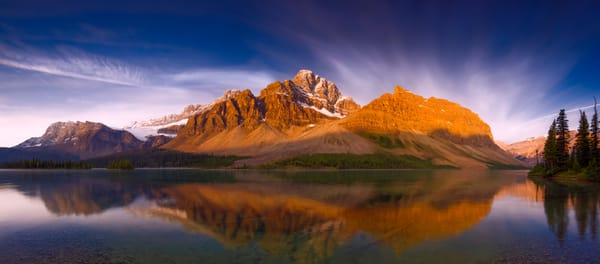 Crowfoot Mtn. and Bow Lake in Banff National Park. |Canadian Rockies|Rocky Mountains|