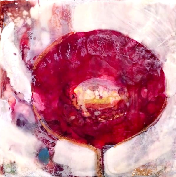 "Day 8--""Love Conquers Poppies"" encaustic wax and mixed media on panel, 6""x6"" by Monique Sarkessian'-25days of minis,"