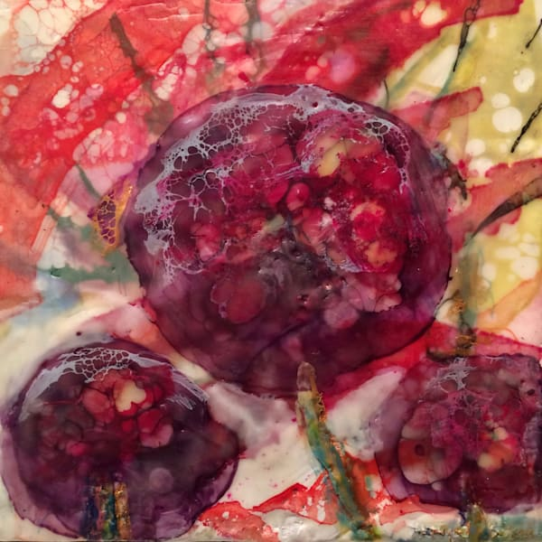 "Day 9--""Love Conquers Purple Allium"" encaustic wax and mixed media on panel, 6""x6"" by Monique Sarkessian'-25days of minis,"