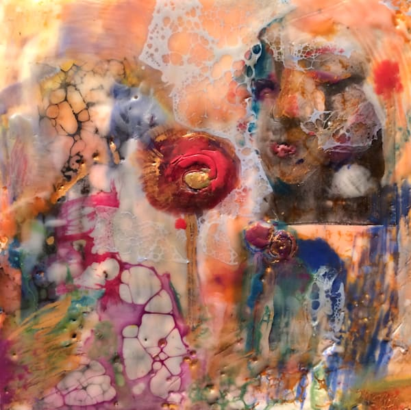 "Day 10--""Love Conquers 10 -Poppies"" encaustic wax and mixed media on panel, 6""x6"" by Monique Sarkessian'-25 days of minis,"