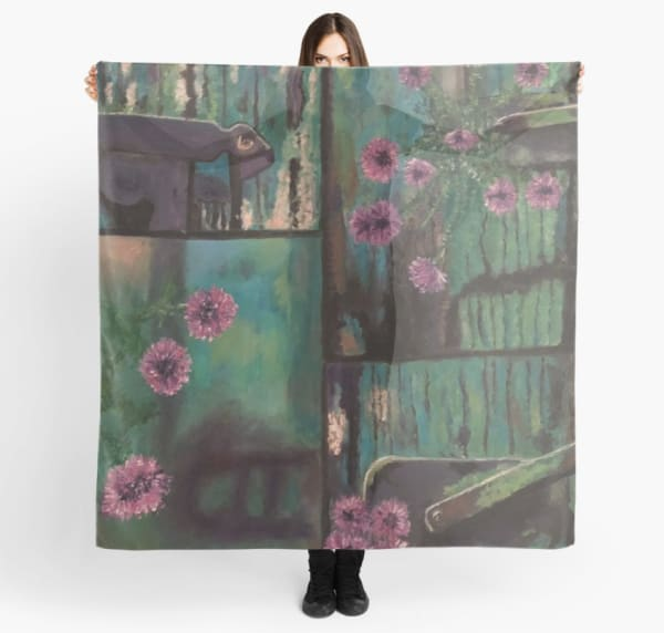 Old Door With Flowers Scarf | Marci Brockmann Author, Artist, Podcaster & Educator