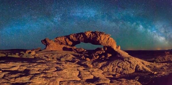 escalante arch with stars