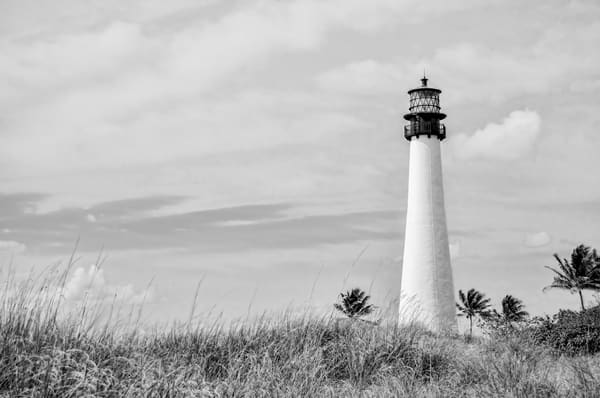 The Cape Florida Lighthouse in Key Biscayne, Florida, Black and White