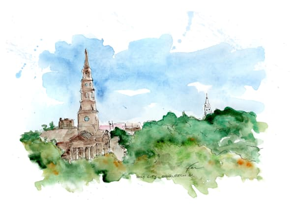 Charleston Holy City Watercolor | Fer Caggiano Art