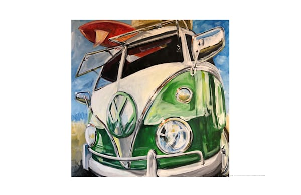 green vw bus painting