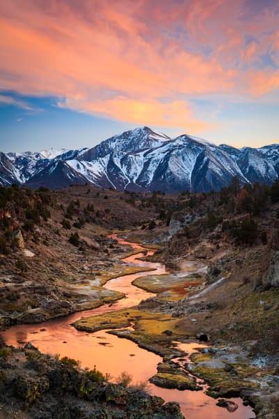hot creek fiery sunset