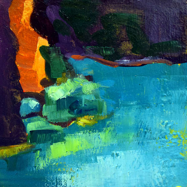 """Original plein air oil painting, """"Quarry 3"""" by Monique Sarkessian, oil and mixed media on wood, 6x6"""" framed with a white wood frame."""