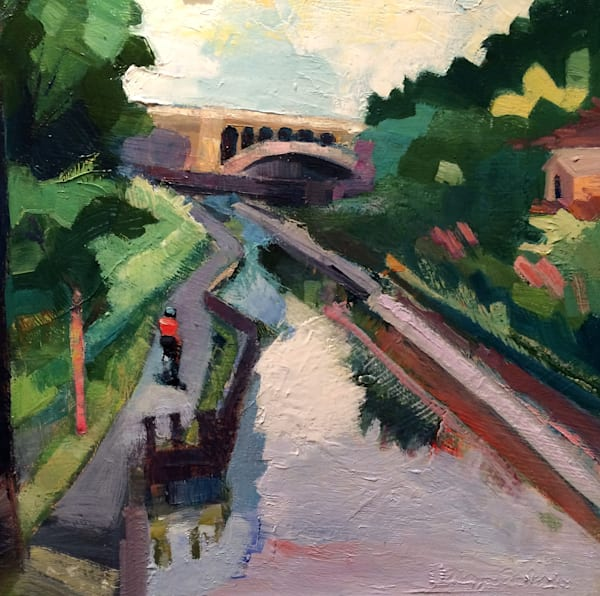 "Original plein air oil painting, ""Joyride 21-Manayunk Bridge Cyclist"", Oil and Mixed media on wood, 12x12"" framed."