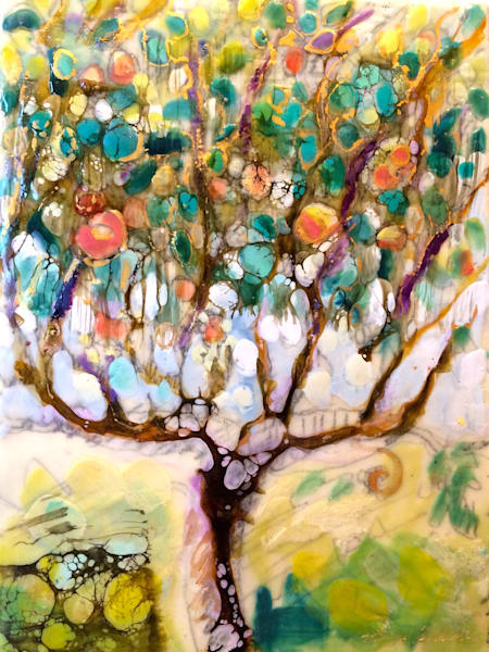 "Expressionist landscape ""Tree of Life 1"" created with encaustic and mixed media on paper mounted on wood. Measures 22cm high x 16cm wide."