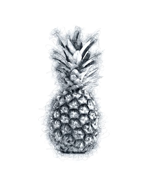 Pineapple Line Drawing Art Print by Christina Stefani