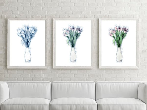 Three Tulips in the Afternoon – Set of Three Framed Prints