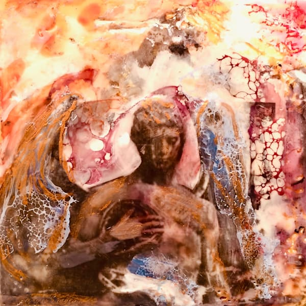 "Day 12--""Love Conquers 12-Male Angel"" encaustic wax and mixed media on panel, 6""x6"" by Monique Sarkessian."