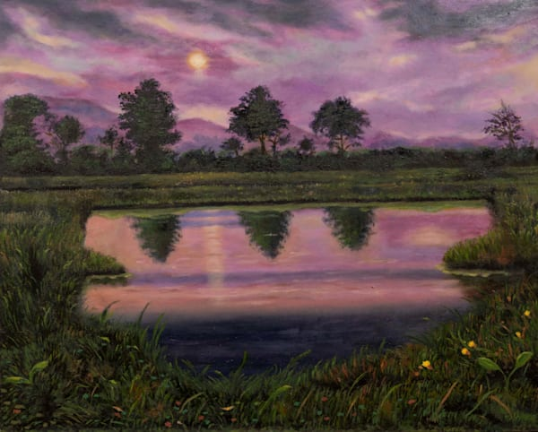 "Purple Marsh (16"" x 20"") 720 hrs."