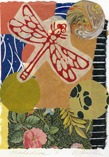 dragonfly collage art for sale by fine artist Ouida Touchon, chine colle technique, signed by the artist.