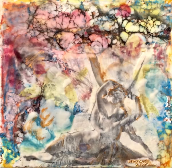"Day 16--""Love Conquers 16- Cupid and Psyche Louvre Lovers"" encaustic wax and mixed media on panel, 6""x6"" by Monique Sarkessian."