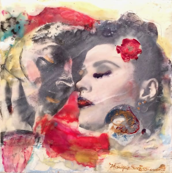 "Day 18-""Love Conquers 18- Masked Lovers"" encaustic wax and mixed media on panel, 6""x6"" by Monique Sarkessian."
