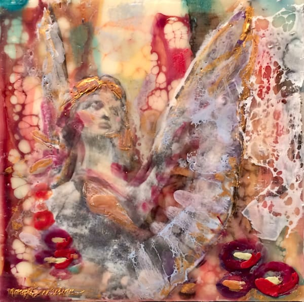 "Day 21- ""Love Conquers 21 Paris Angel"" encaustic wax and mixed media on panel, 6""x6"" by Monique Sarkessian, framed."