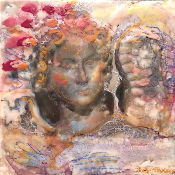 "Day 22 ""Love Conquers 22 Paris Angel"" encaustic wax and mixed media on panel, 6""x6"" by Monique Sarkessian, framed."