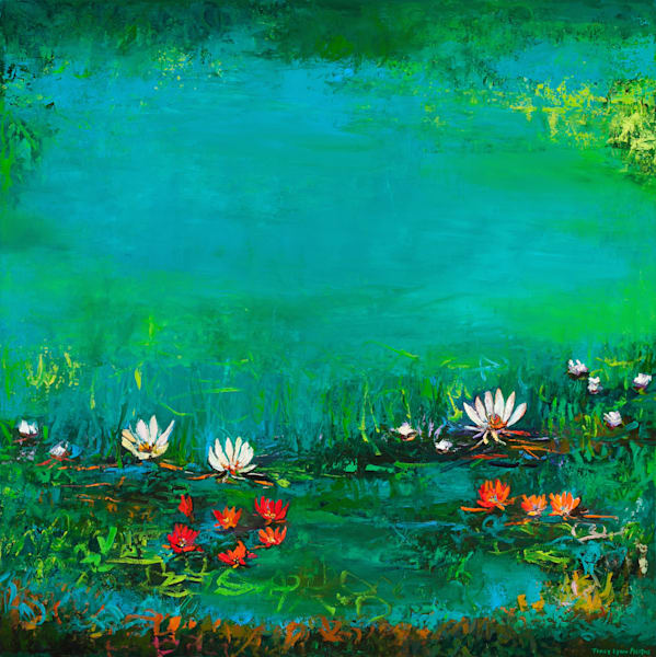 Large Scale White Lotus Flowers Blue Background Painting