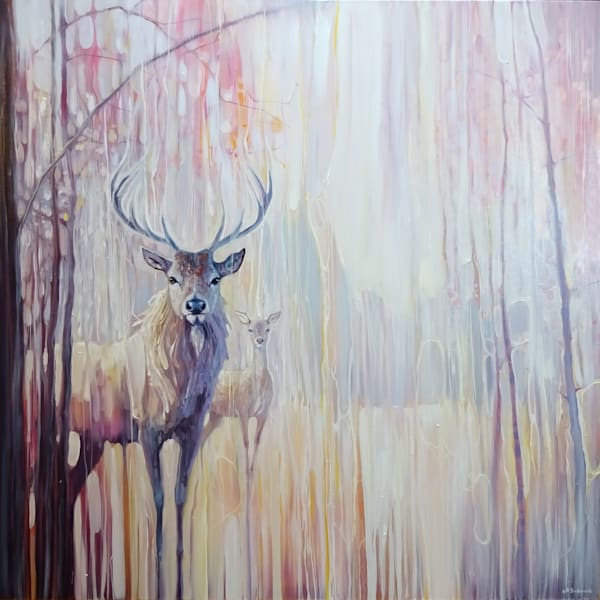 woodland souls print on canvas and paper of white deer in a winter forest