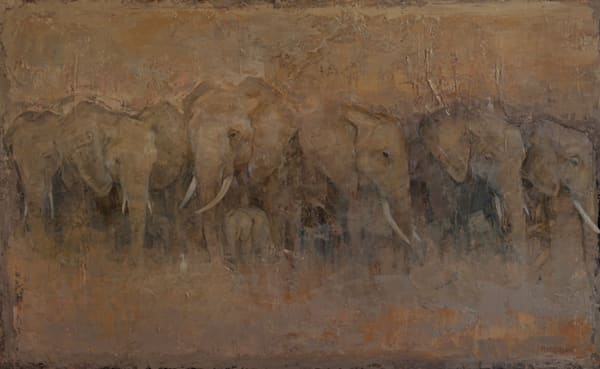The Egrets and Elephants 42x78 oc GW