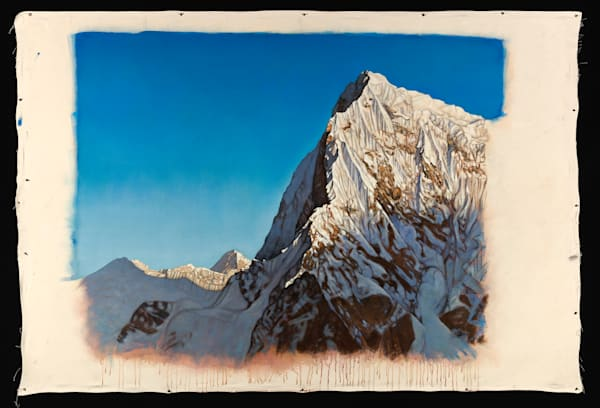 "Cholatse with Makalu, 72"" x 60"" original oil on canvas painting by Terry Brewer."