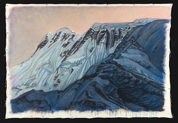 "Northeastern Flank Annapurna Massif, 84"" x 60"" original oil on canvas painting by Terry Brewer"